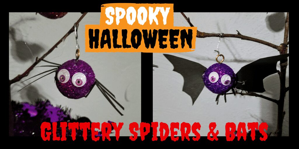 DIY Spiders and Bats for Halloween Tree! Halloween can be fun for all ages! Get your kids involved in the decorations by creating this cute kids DIY Halloween Tree Centerpiece