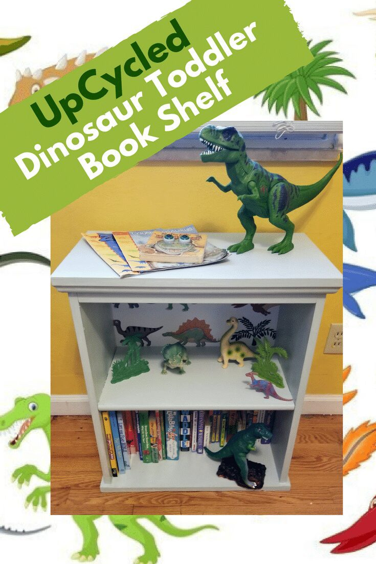UpCycled Dinosaur Toddler Book Shelf - Easy to make custom shelf from a thrift store book shelf, left over paint, and really cute wallpaper!