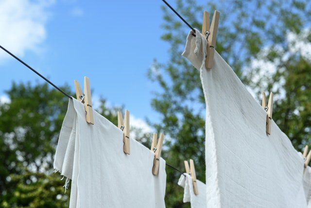 Hanging Clothing out on a line to save money on laundry